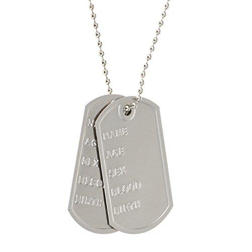 Gazechimp Unisex Metall-ID Erkennungsmarken Auf Kette Armeeart Militärischen Abendkleid Silber (Hund Id-tags Schalldämpfer)