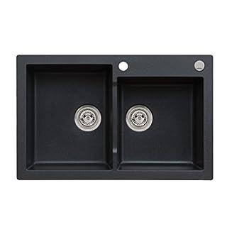 Axigranit Einbau Spüle Mojito 140 für 80er Doppelbecken Küchenspüle 79 x 50 cm Axis Schwarz