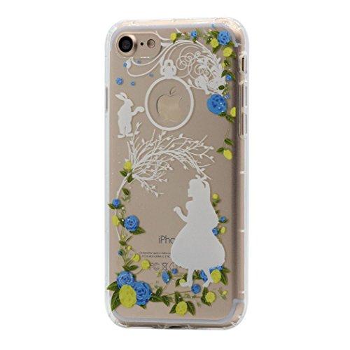 Cover iPhone 8 / 7 Custodia Keyihan Inverno fiaba tema del fumetto Trasparente Morbido TPU Silicone Protettiva Case per Apple iPhone 8 / 7 (Fiocco di neve) Fairy Girl e coniglio