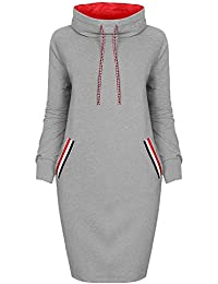 Tomwell Femme Automne Casual Slim Fit Robe Pull Manches Longues Cou Rond à Capuche Freizeit Sweat-Shirts Dress avec Poches Pullover Jumper Tops