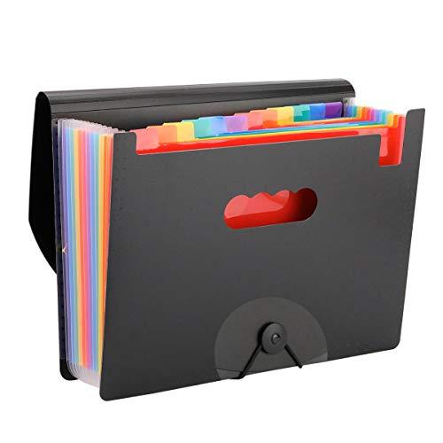 Datei Ordner,YaYuu 12 Taschen Portable A4 Aktenordner Dokumente Datei Aufbewahrungstasche Akkordeon Dateiordner Rainbow für Haus Büro Geschäft Studie