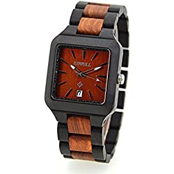 Men's watch with wooden bracelet, quartz men's watch made of wood, with indication of date