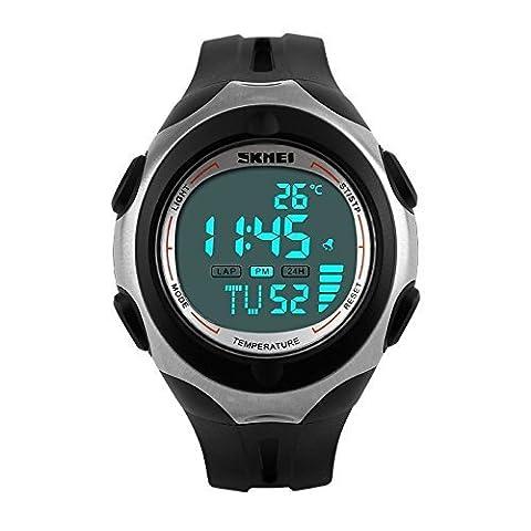 vear Thermomètre affichage numérique LED hommes Date Alarme multifonction sport