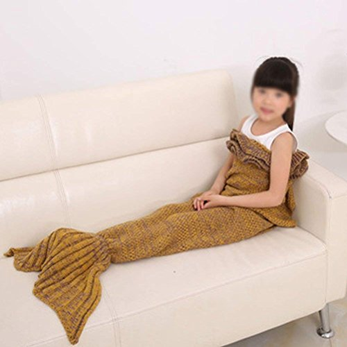 GuoEY Die Fish Tail Klimaanlage Decken Verdickung Nap Nap Kinder Four Seasons Sofa Blanket (70 x 140 cm) (Farbe: Braun)