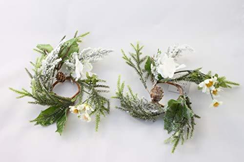 Gisela Graham Weihnachten Kerze Ring Snowy Weiß Blumen und FIR für 2,5Zentimeter Abendessen Kerze-Set von 2 -