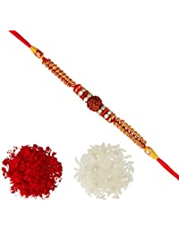 Aheli Fancy Rudraksha AD Ring Beads Rakhi with Roli Chawal Tilak for Men Boys (Golden) (R17450R)