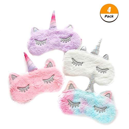 Yorgewd 4 unidades máscara unicornio dormir, suave