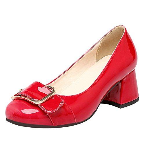 MissSaSa Donna Scarpe col Tacco Metà Classico e Elegante Rosso