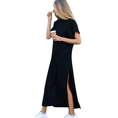 Frauen reizvolle Kurze Hülsen Rundhals Seiten hohes Schlitz Knöchellänge schwarzes Kleid-langes Hemd Kleid (L) - Kleider Frauen Für Grüne Cocktail