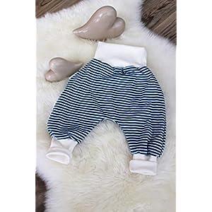 Baby Pumphose Schlupfhose Haremshose Gr.62-74 Streifen petrol-creme unisex