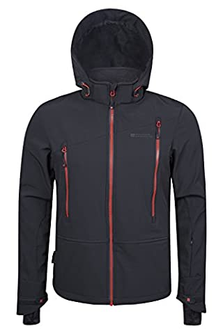Mountain Warehouse Escalade Soft-shell Men's Ski Jacket - Waterproof & Breathable IsoDry Fabric with Detachable Snow Skirt & Hood, Lots of Pockets Grey