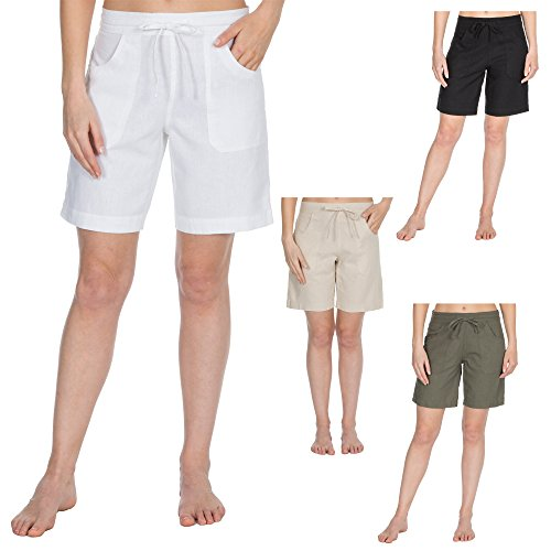 Metzuyan Ladies Womens Summer Linen Casual Midi Shorts with Pockets Size 10-18 Vibrant Colours Beach Shorts