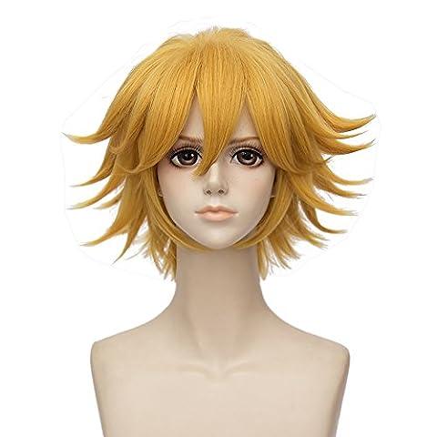 Mufly Cosplay Perruques de Manga en Fibre Synthétiques Perruque Cheveux Courte Résistant à la Chaleur 8 Inch pour Halloween,Soirée,Carnaval,Fête etc (Or Jaune)