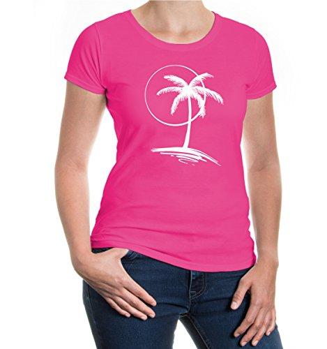 buXsbaum® Girlie T-Shirt Vacation Time V2 Fuchsia-White