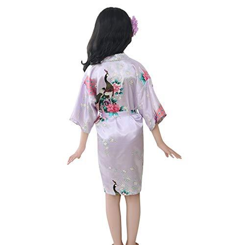 Electri Kimono Kleid für Mädchen, Kinder, Jungen, Nachthemden Pfau und Blumen, Bademantel aus Satin, Pyjama, Schwimmen, Geburtstag, Hochzeit 4 Wein -