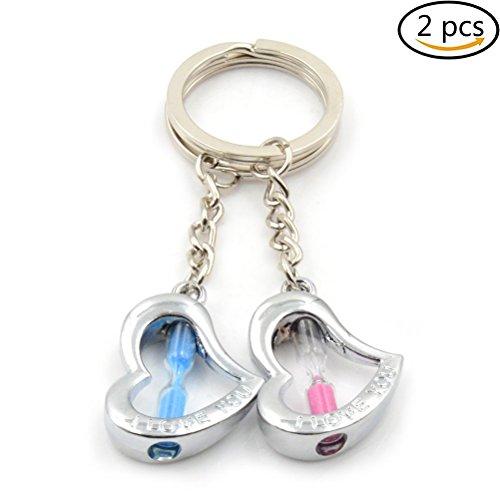 Uoeo 2Herz Form sand Timer Sanduhr Schlüsselanhänger, blau und pink