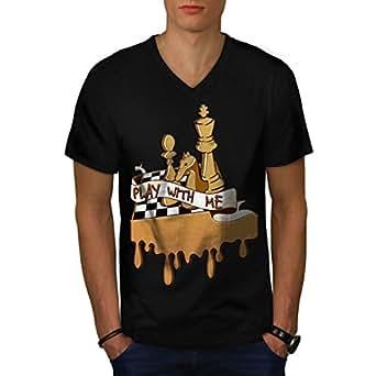 Jouer Échecs Avec Moi Jeu Planche Men XXL T-shirt à col en V   Wellcoda
