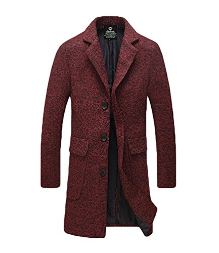 YiJee Homme Manteau D'hiver Single Boutonnage Couleur Solide Grande Taille Rouge