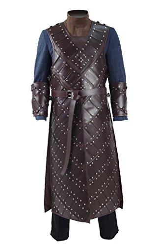 Yewei Game Throne Ritter Snow Kostüm Herren Halloween Faux Fur Umhang PU Rüstung Outfit (Braun Rüstung, L) (Une Faux Halloween)