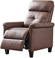 كرسي استرخاء بظهر يُدفع للخلف بذراعين ومسند للقدمين من ام ال ام، لون بني