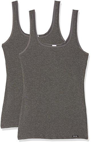 Skiny Damen Advantage Cotton Tank Top 2er Pack , Schwarz (anthra melange), 38(M) EU -