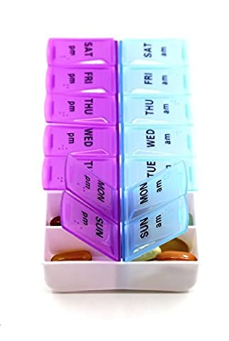 Pill Organizer, Medicine Organizer, Vitamin Organizer (Weekly 2 Compartment ) by CoCo Island