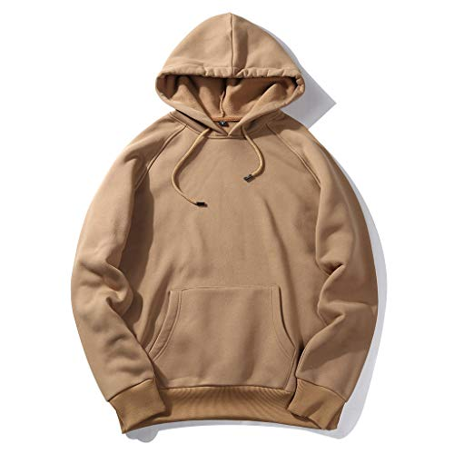 Qiuxiaoaa Damen Sweatshirts-Mens Plus Size Casual Pullover Tops Raglanärmel Kordelzug Hoodies Einfarbig Lose Basic Sweatshirt Streetwear mit Tasche,Khaki 2X-Large -