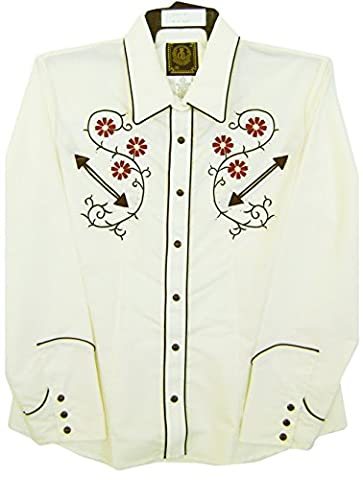 Modestone Women's Embroidered Long Sleeve Western Chemise Floral Rhinestones Beige M