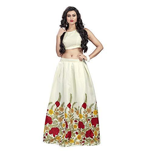 Nena Fashion Women\'s Ceremony wear Semi-Stitched Lehengha choli(free_size)-off-white