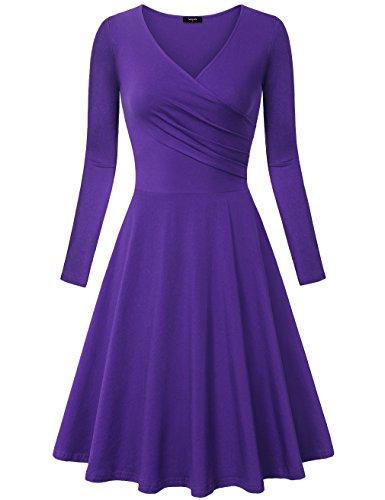 Kleid, Damen Freizeit Langarm Sexy In Falten gelegt V-Ausschnitt Flare A Line Einfarbig Elegant Kleid, DVT XL (Weihnachten Sexy Kleid)