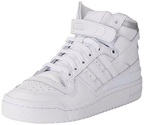adidas Herren Forum Mid Refined Basketballschuhe, Mehrfarbig (Ftwr White/Ftwr White/Silver Met.), 43 1/3 EU (Schuhe Forum Adidas)