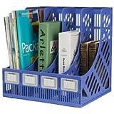 JEEJEX Multifunction Plastic Storage Hanger 4 Section Divider File Paper Magazine Rack Holder Office Home Desktop Book Box Bookshelf