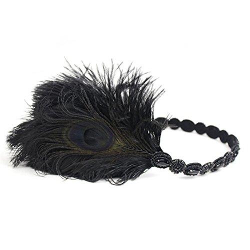 AJON Frauen Fascinator Stirnband Vintage Pfauenfeder Kopfstück Gatsby Prom Hochzeits-Kopfschmuck,Black