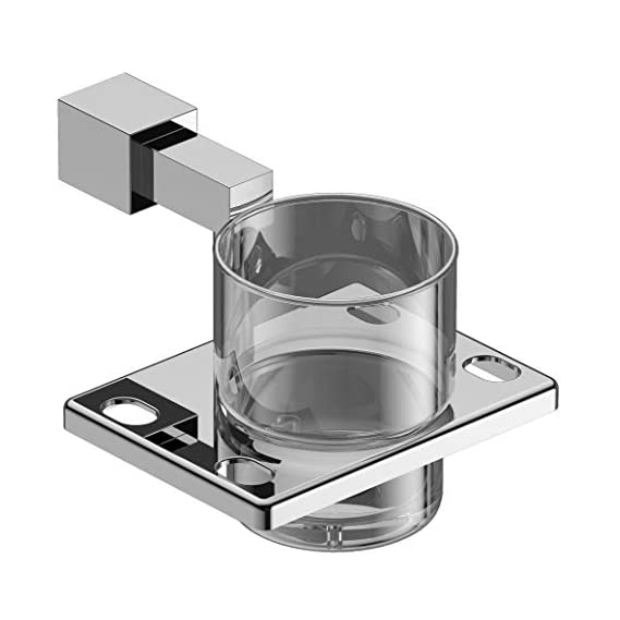 Amity Dzire Tumbler Holder | Toothbrush Holder, Wall Mounted for Bathroom and Wash Basin, AISI 304 Grade Stainless Steel with Chrome Finish
