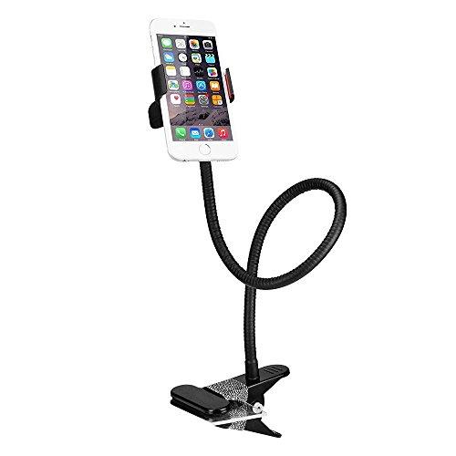 BESTEK Universal Schwanenhals Handy Halterung 360° Drehbar Handyhalterung für Iphone XS Max X 8 7 6 6s Plus Xiaomi usw, Klemmebreite Max. 70mm, Schwarz