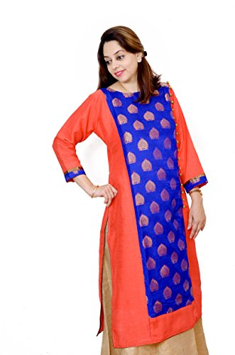 Kieana Women Raw Silk Plain Kurti With Kundan Work Button And Stand...