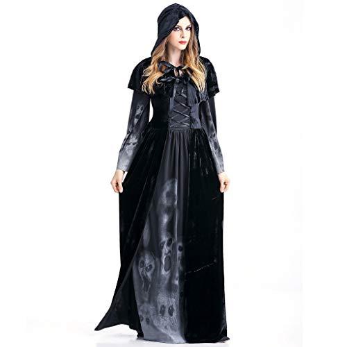 Damen Kleid Stola Halloween Maxikleid Horror Schädel Vampir Rollenspiel Cosplay Partykleid Kostüm Vintage Hexe Langarm Festlich Maxi Kleider, Schwarz