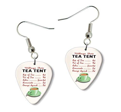 Tea Tent Fete Menu Martin Wiscombe Guitar Pick Earrings Vintage Retro