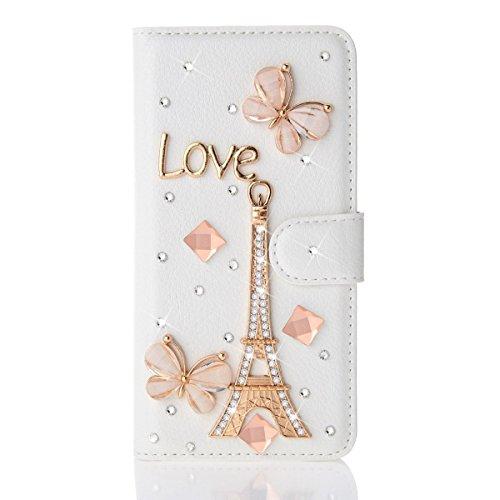 Coque iPhone 5C , iNenk® Sac à main en cuir Case w/carte ID titulaire blanc luxe 3D la main paillettes Bling diamant perle Crystal portefeuille pochette carte-Couronne argent Tour Rose