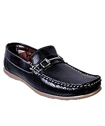 Duppy Boys Black Synthetic Leather Loafers 05 UK