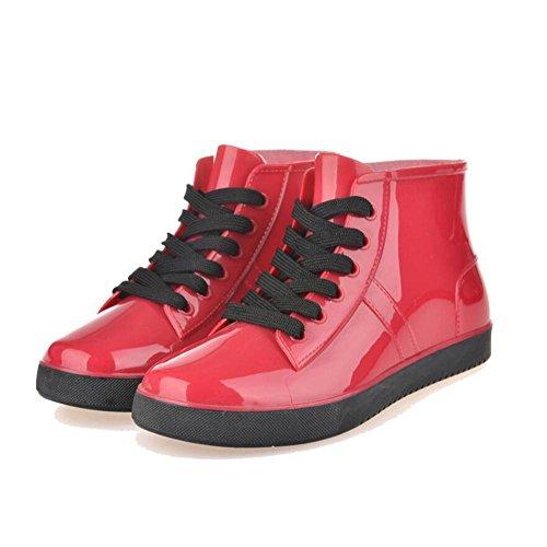 SIHUINIANHUA Frauen Spitze Regen Stiefel/Kurze Stiefel/niedrig, Wasser Jacke Schuhe Schuhe Helfen, Red, 37