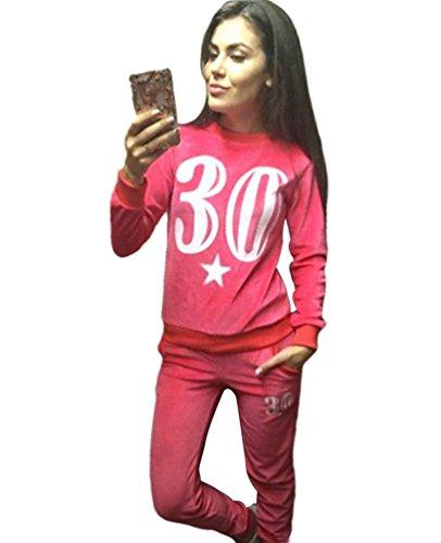 Baymate Donna Invernali Stampato Tuta Da Ginnastica 2 Pezzi Felpa Manica Lunga + Lungo Pantaloncini Abbigliamento Sportivo Rosso