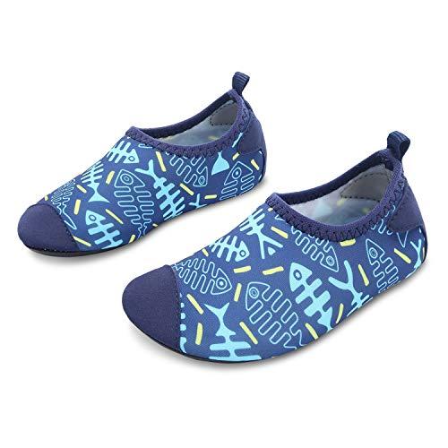 JOINFREE Niños Niñas Nadar Zapatos para el Agua Deportes acuáticos Calcetines Zapatillas Zapatos para la Piscina (Hueso de Pescado,32-33)