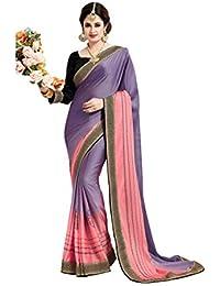 Aarti Apparels Women's Designer Embroidered Satin Saree_SNSR-9002_Purple & Pink