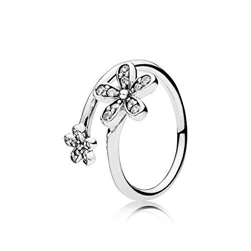 Offener Pandora Damen Ring Glanzvolle Gänseblümchen in silber mit Zirkonia Steinen besetzt