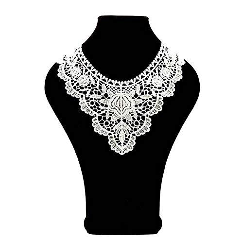 Elegante encaje flor bordado cuello costura ropa de boda manualidades - blanco lyhhai