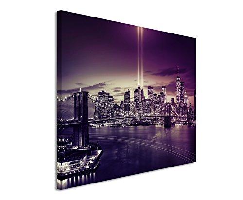 120x 80cm murale Foto su tela in Mauve New York Brooklyn Bridge Manhattan River Hudson Boot