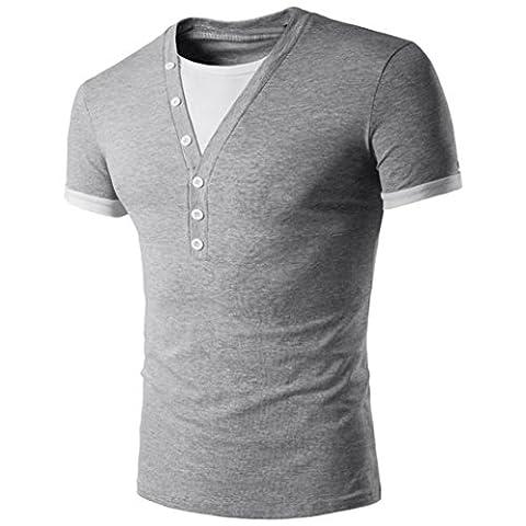 Hommes T-Shirt Manches Courtes,Overdose Basiques Tops T-Shirt à Col V Profond Avec Bouton Regular Fit (XL, Gris)