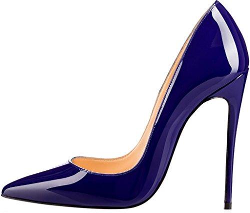 ELEHOT Femme 12cm Taille EU 34-46 Elenow Aiguille 12CM Synthétique Escarpins bleu 12cm