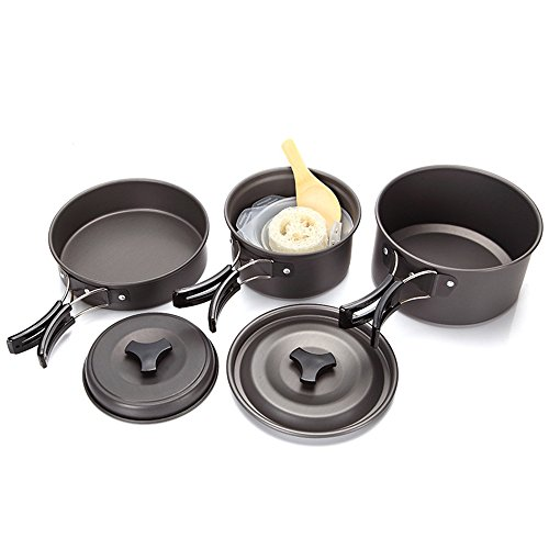 TechCode Camping Cookware, Portable Aluminum Alloy Camping Cookware for 2-3 People Outdoor Cooking Pots Equipment Stainless Hiking Cookware Kit for Backpacking,Hiking, Picnic